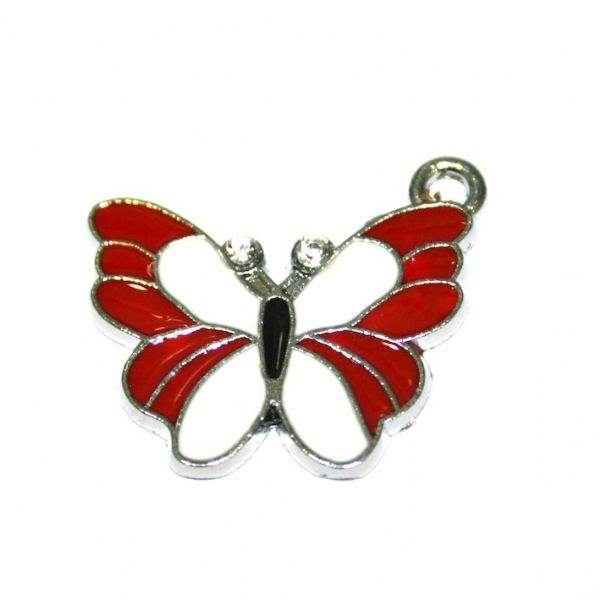 1 x 25*20mm rhodium plated red/white butterfly enamel charm - S.D03. - CHE1294
